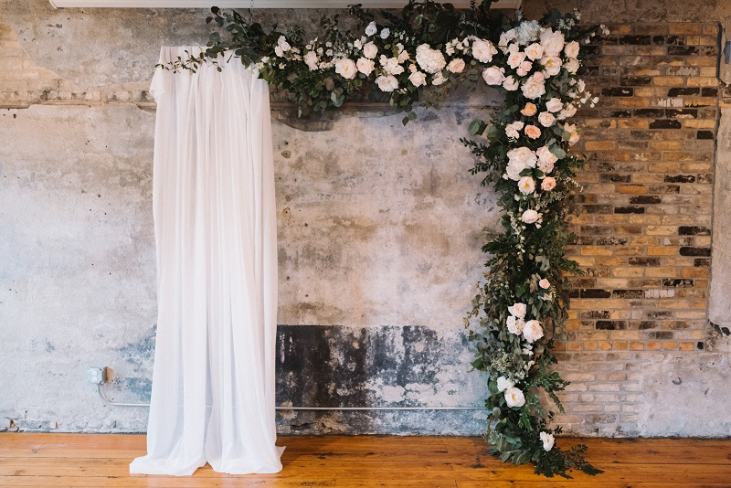 the bachelor farmer, hanging ceremony floral backdrop, flower backdrop, urban flower installation, studio fleurette.jpg