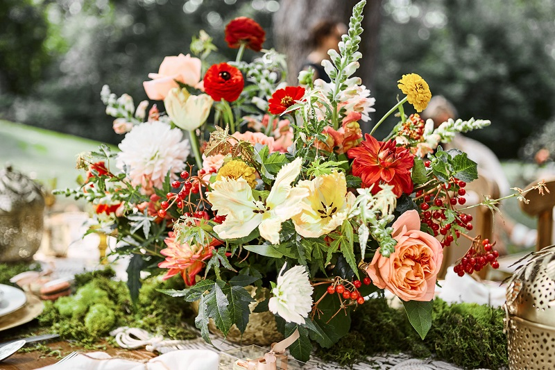 colorful floral centerpieces, boho floral centerpiece, studio fleurette, mn wedding flowers.jpg
