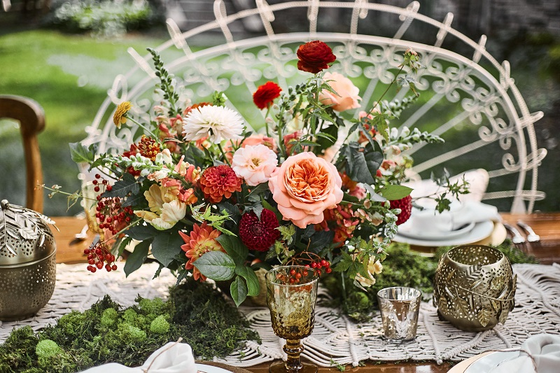 red coral orange boho centerpiece, studio fleurette, minneapolis wedding florist.jpg