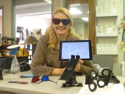 Figure 6. Dr. Simonson wearing the red/cyan glasses used with Opto.