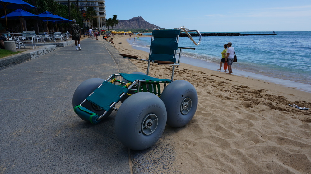 We offer a FREE beach wheelchair rental for Waikiki Beach, Honolulu, Oahu Hawaii