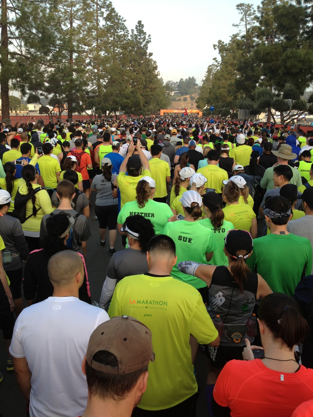 Crowds gather at the starting line of the 2013 Los Angeles Marathon.