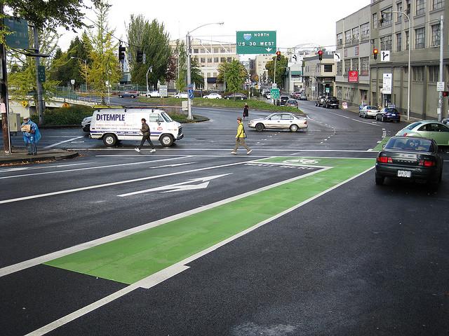 Photo of Portland bike lane courtesy Flickr user Eric Fredericks