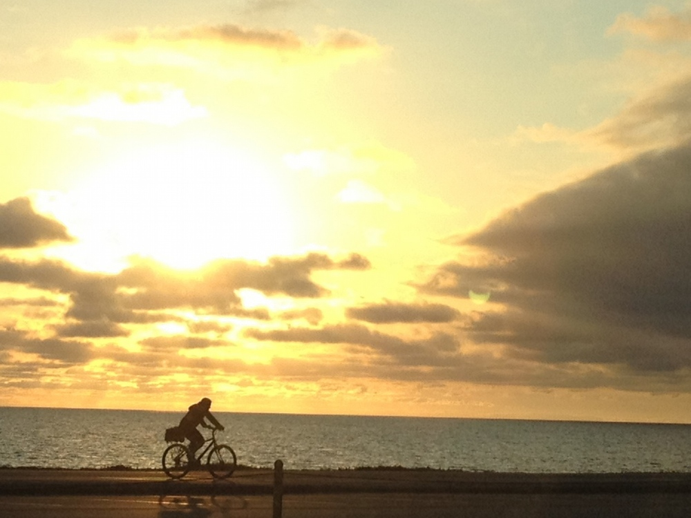 A Bicyclist Rides Along the Beach North of Santa Monica. ( Photo by Bill lascher )