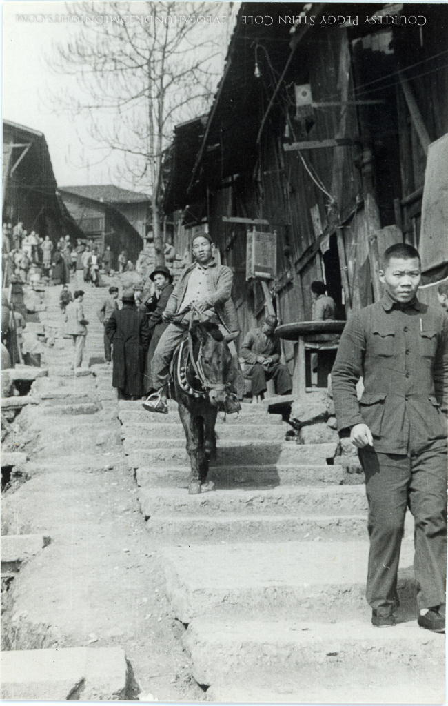 Man on Donkey on Chungking steps [very good image].jpg