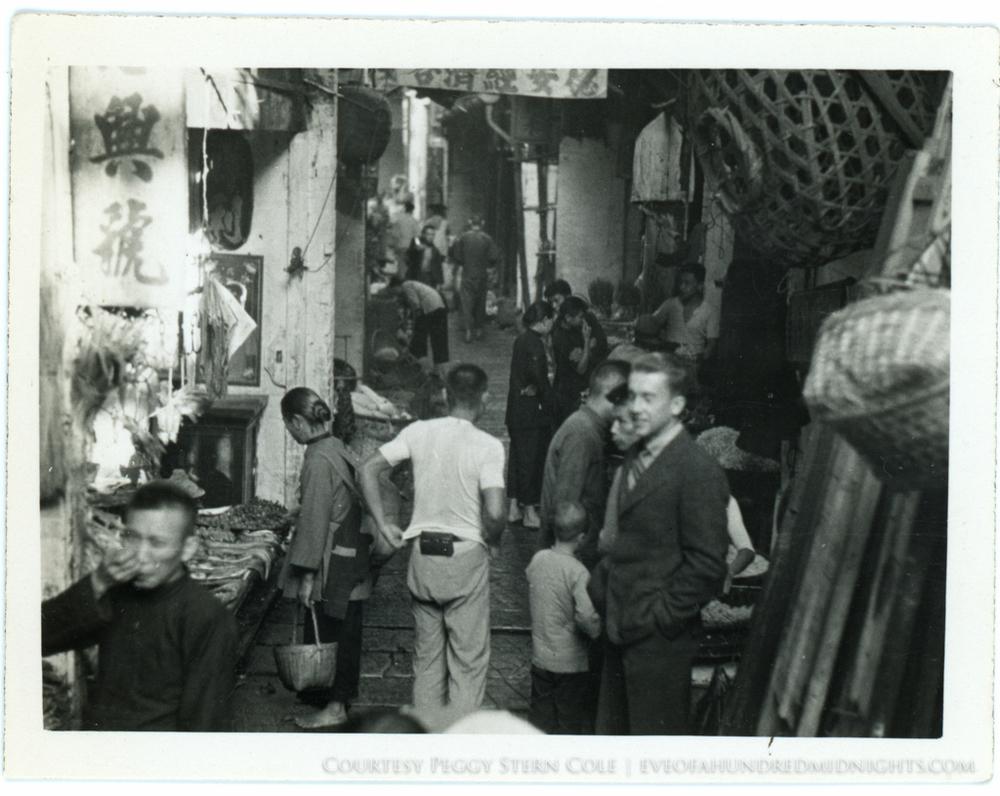 Bud Merrell in crowded Guangzhou Street by Vendors.jpg