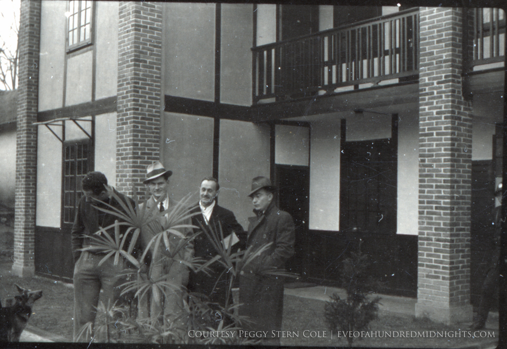 Dog McAvoy Stewart Votaw and White in coats at Press Hostel.jpg