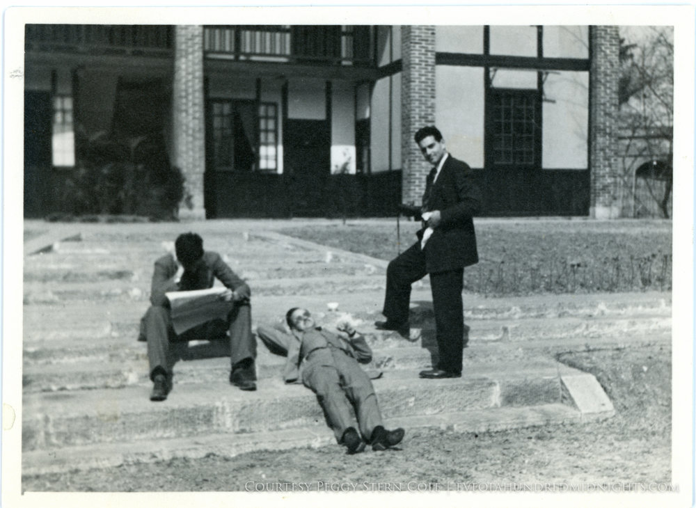 Mel Mo Votaw and Hugh Deane on Press Hostel Steps.jpg
