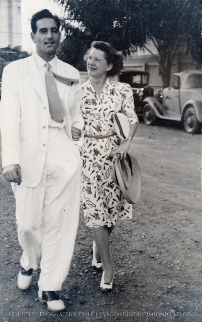 Melville and Annalee Jacoby walking along the streets of Manila on their wedding day, November 24, 1941. (Photo Courtesy Peggy Stern Darling)