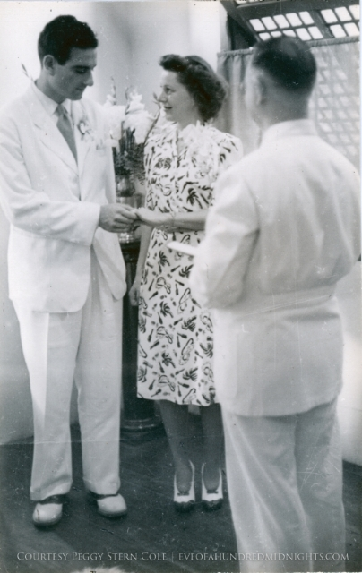 Melville and Annalee Jacoby exchange vows in front of the Reverend Walter Brooks Foley at the Union Church of Manila on November 24, 1941. (Photo Courtesy Peggy Stern Darling)