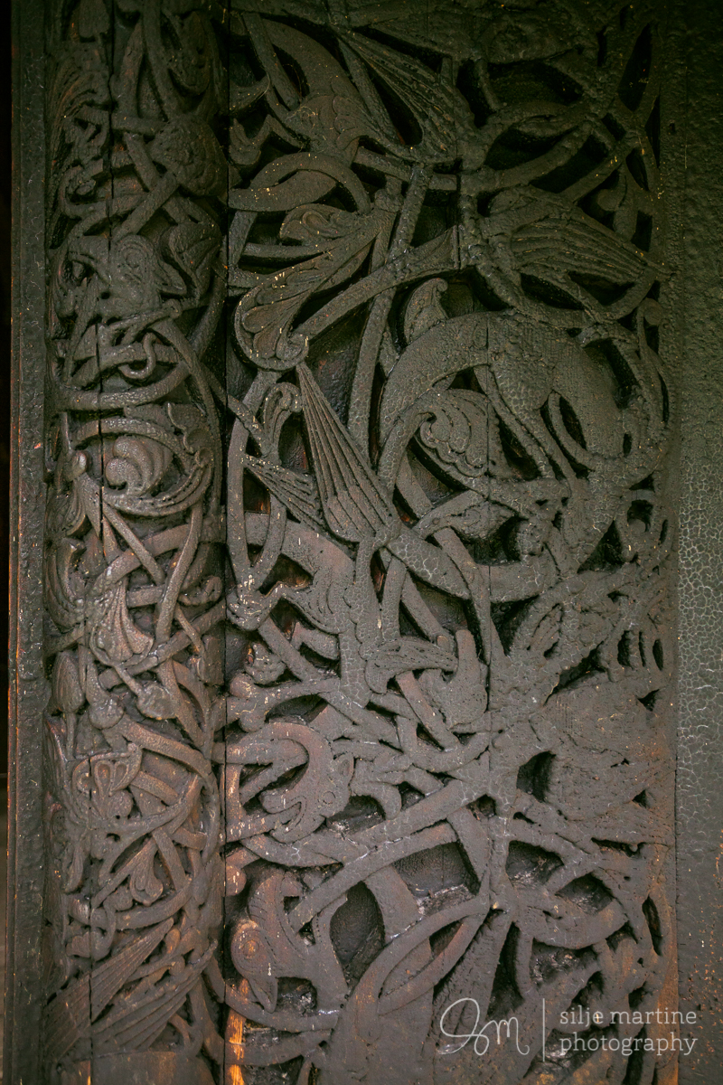 Detail from the entrance of the stave church.