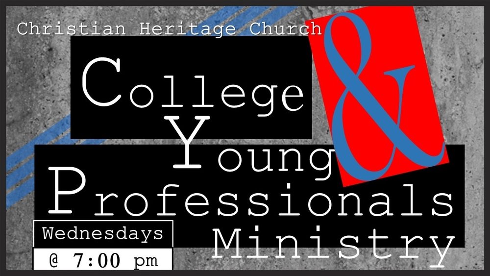 This class addresses the issues facing college students and young professionals.  This class is relevant, Spirit-filled and Jesus centered. Instructor: Chris Anariva For more information about our College & Young Professionals Ministry, feel free to contact Chris at chris.anariva@chctoday.com.
