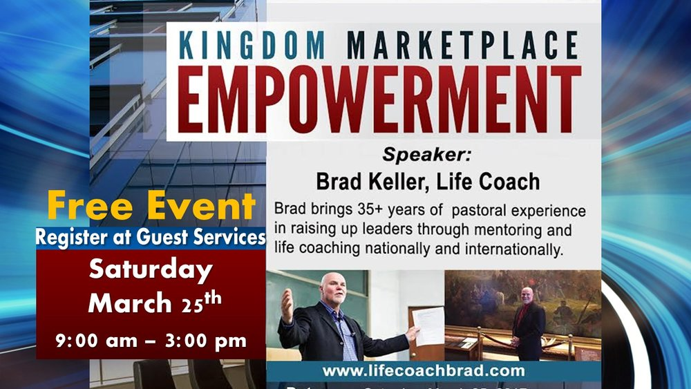 Kingdom Marketplace Empowerment Event here at CHC on Saturday, March 25th from 9:00 am to 3:00 pm. This seminar is to empower Christian businessmen and women in understanding their purpose, calling, assignment and anointing in the marketplace!  It is a FREE EVENT AND REGISTRATION IS REQUIRED. Continental breakfast and lunch will be provided. Please stop by Guest Services and sign up as soon as possible.