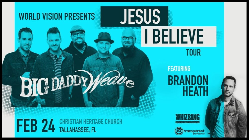 We are so glad to have Big Daddy Weave with us again!!!  It is going to be an incredible night of worship and ministry that you won't want to miss! Get your tickets right now...!  For more information visit  bigdaddyweave.com.