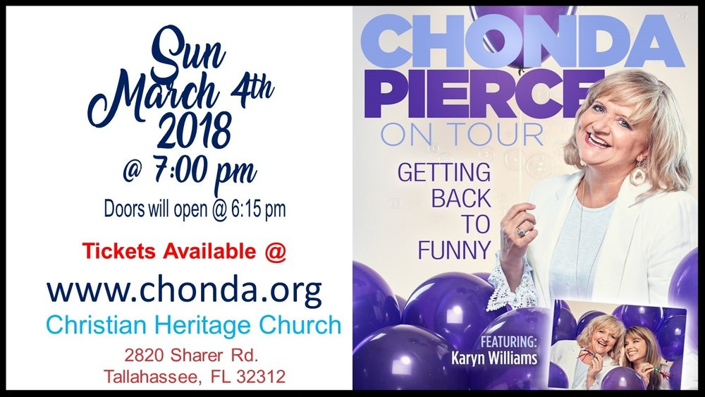"Emmy-nominated and best-selling comedian Chonda Pierce  has been making audiences laugh for more than two decades with her winning combination of fierce wit and southern charm.  She will be with us on March 4th with her ""Getting Back to Funny"" Tour and we can assure you that you will have a blast... Perfect Girls Night Out!"