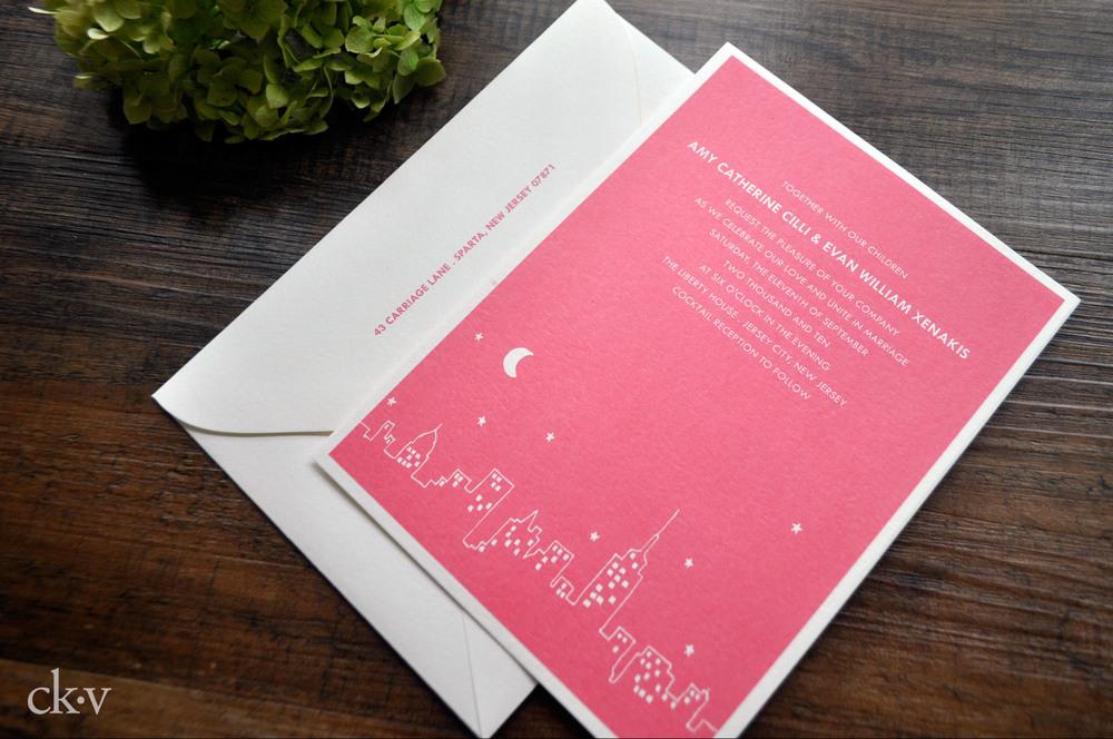 modern new york skyline wedding invitation