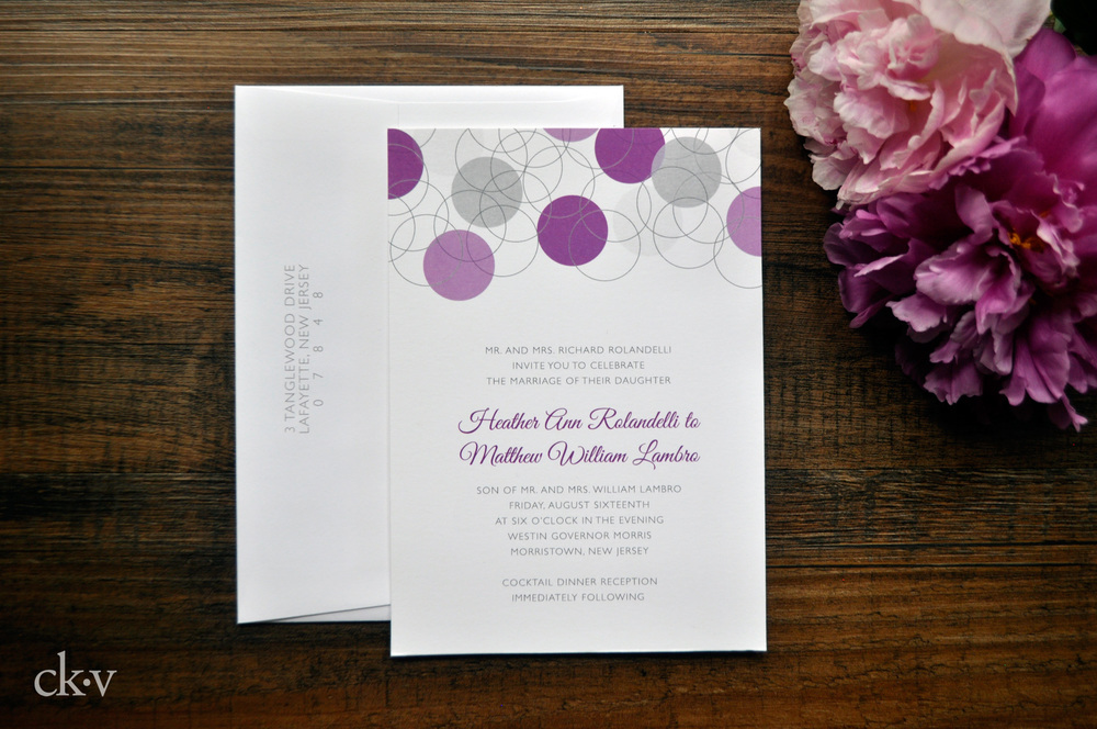 modern grey and purple circle wedding invitations