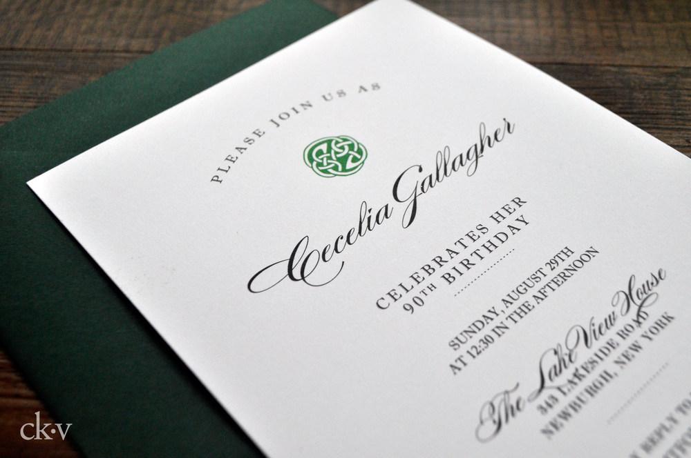 emerald green celtic birthday party invitation