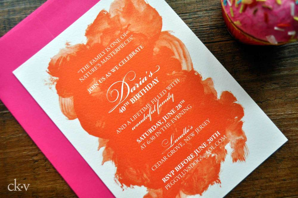 painterly watercolor 40th birthday party invitations