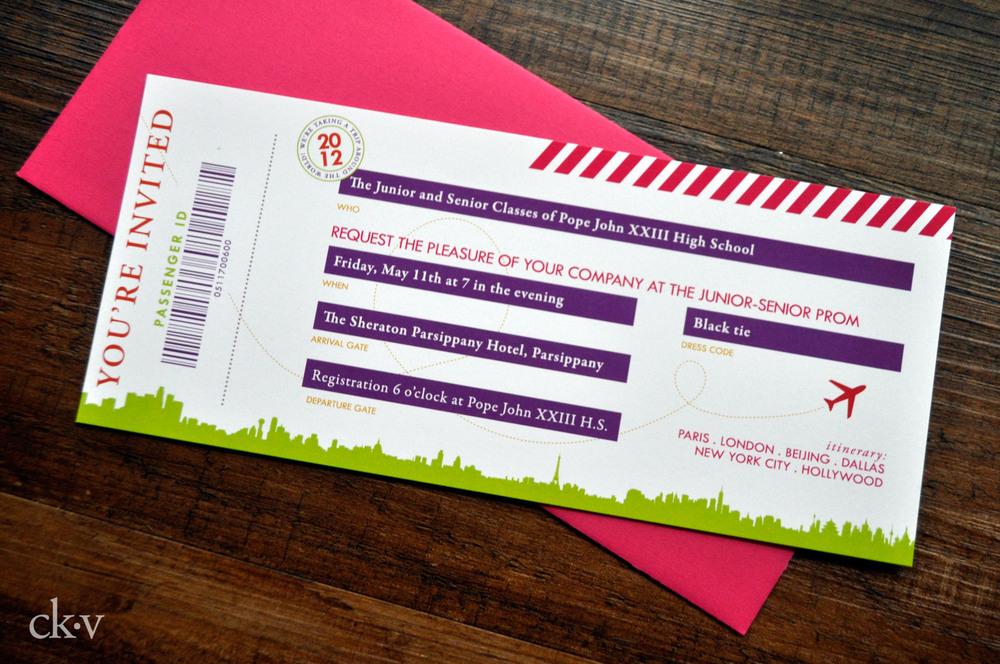around the world airplane ticket invitation