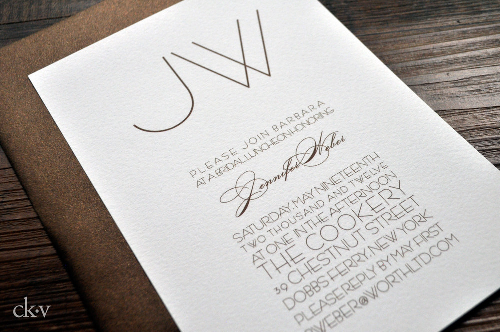 bronze modern and minimal invitations