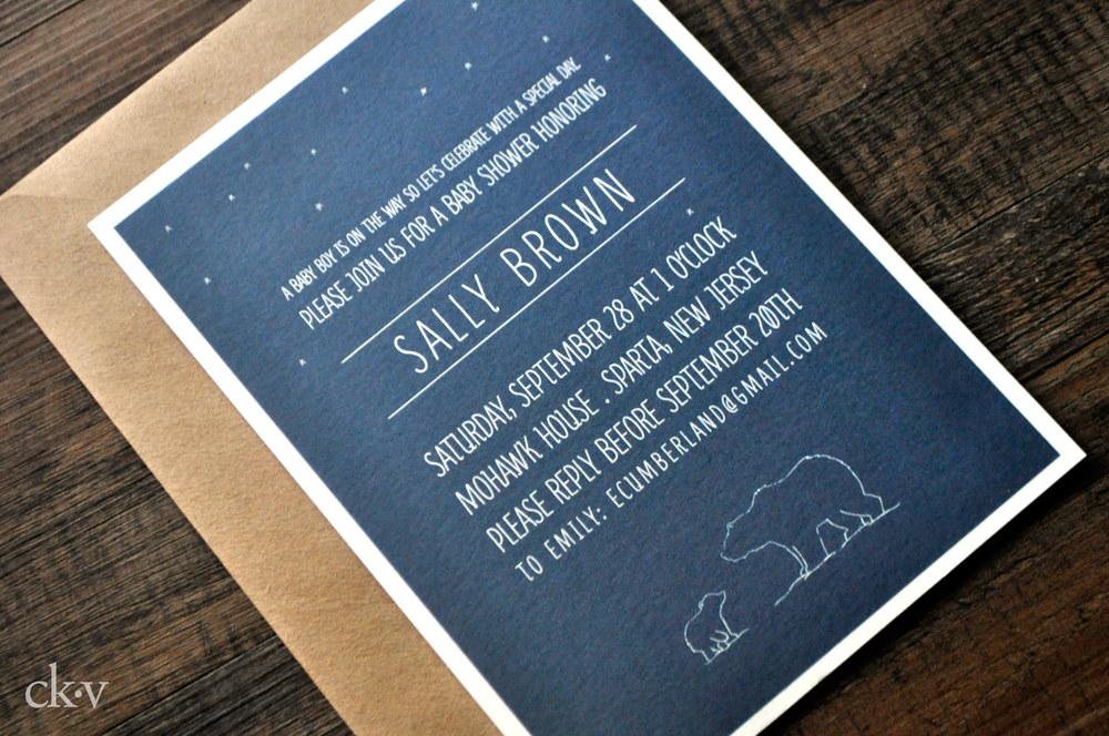 doodle polar bear baby shower invitation