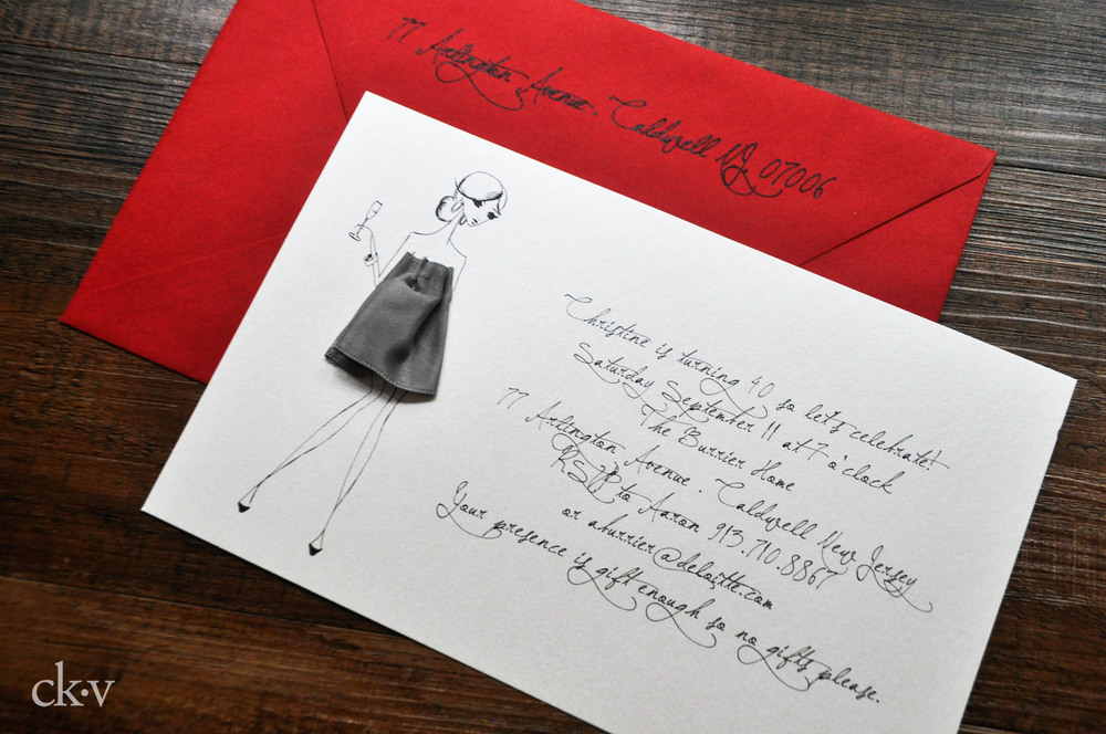 Girl's cocktail party invitation with ribbon dress