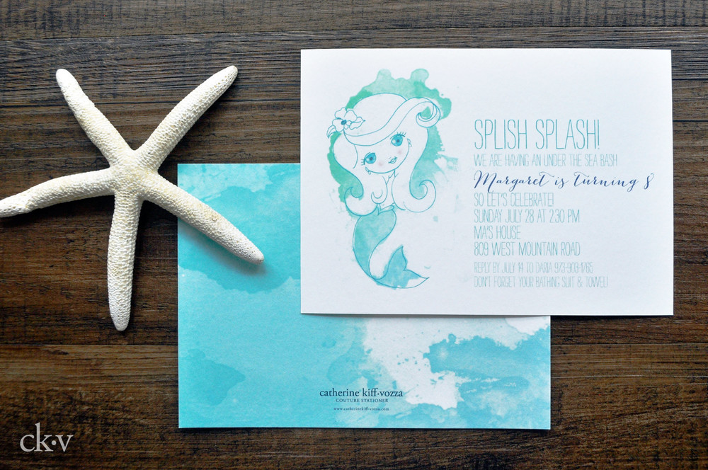 mermaid watercolor kid's birthday party invitations