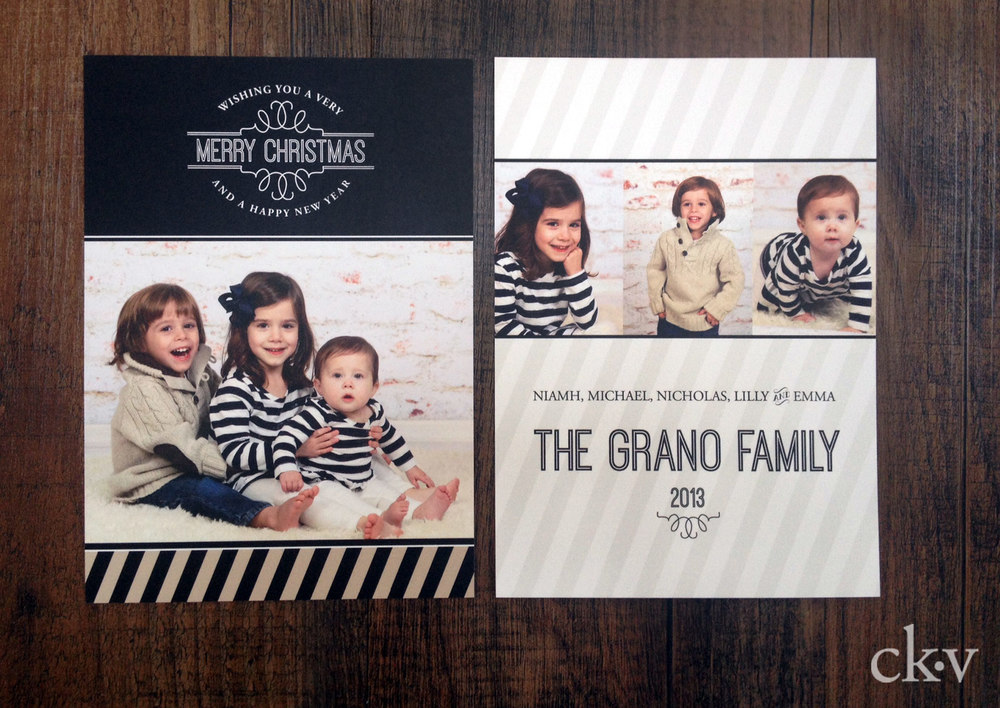 striped holiday photo card