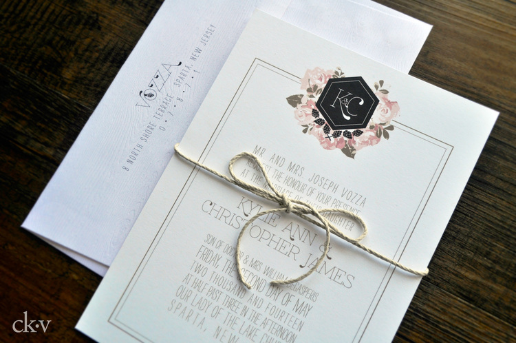 Modern floral wedding invitations