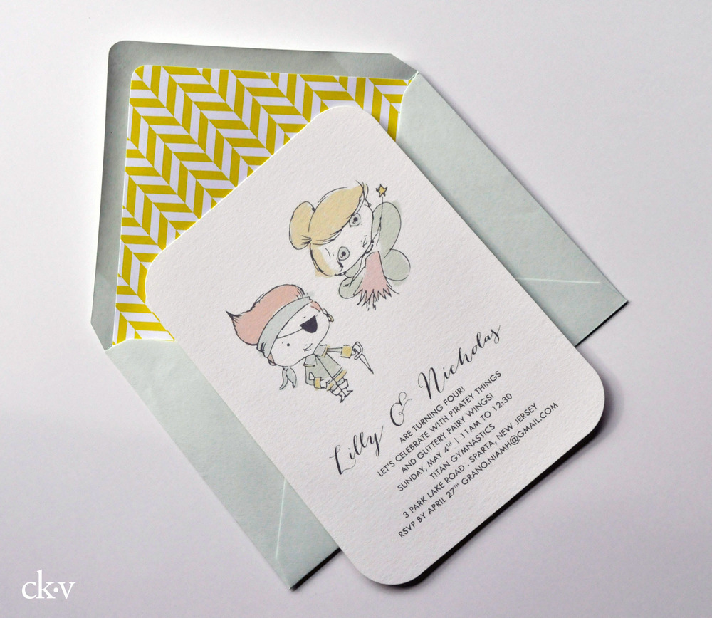 Custom illustrated pastel pirate and fairy kid's birthday party invitation for twins