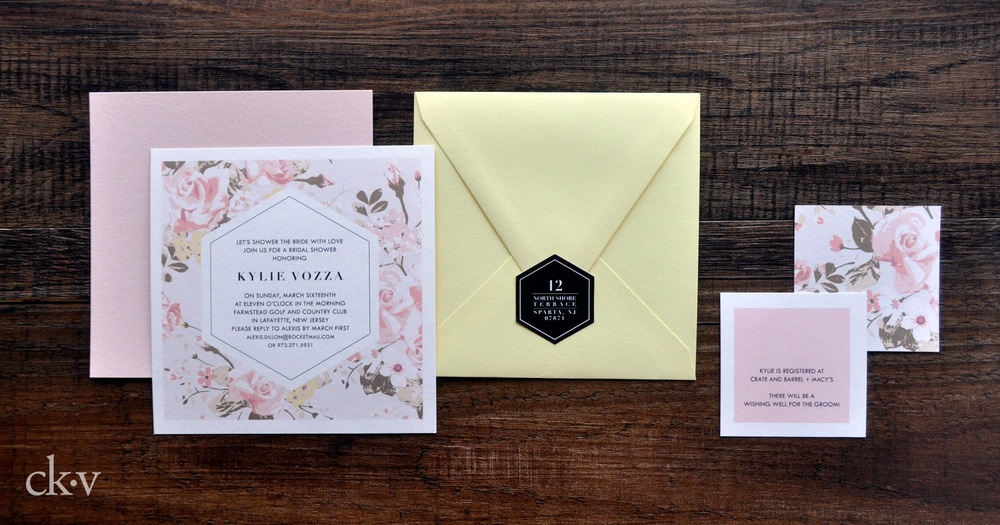 Modern pink and yellow floral and geometric wedding shower square invitation with registry card