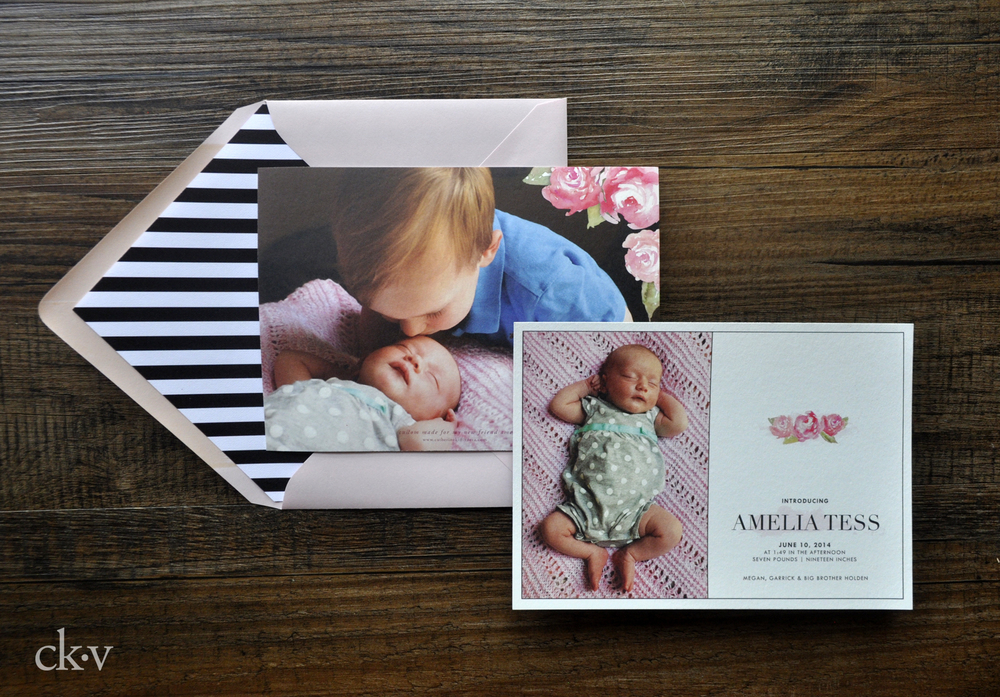 watercolor floral and striped girl's birth announcement