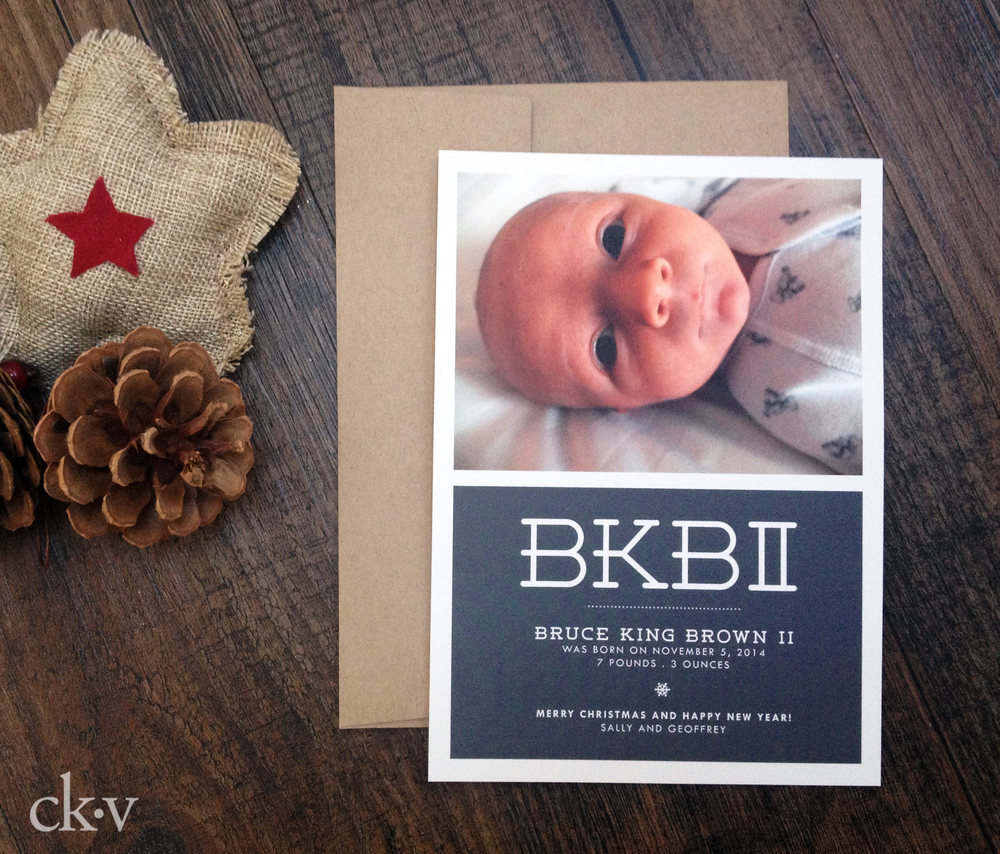 modern baby boy's birth announcement with photo