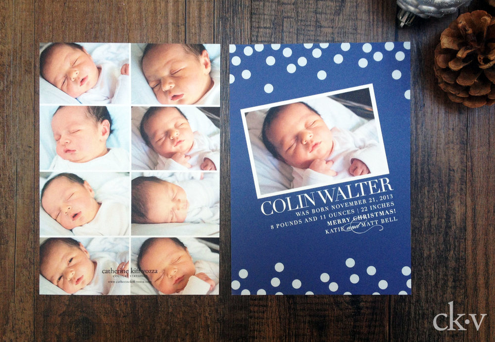 modern and elegant baby boy's birth announcement with photo