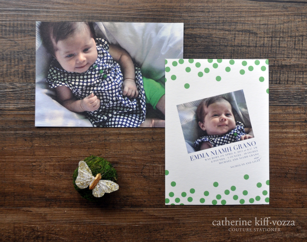 modern green and navy baby's birth announcement with photo