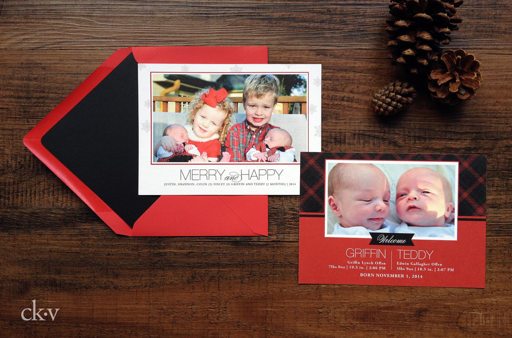 red holiday borth announcment for twins plaid and snowflakes