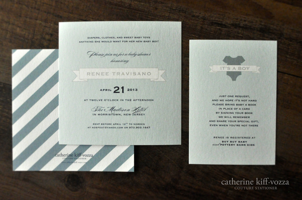 elegant baby boy shower invitation with blue banner and stripes