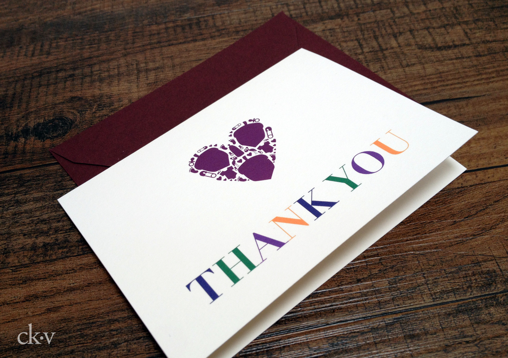 triplet thank you note in stripes and jewel tones