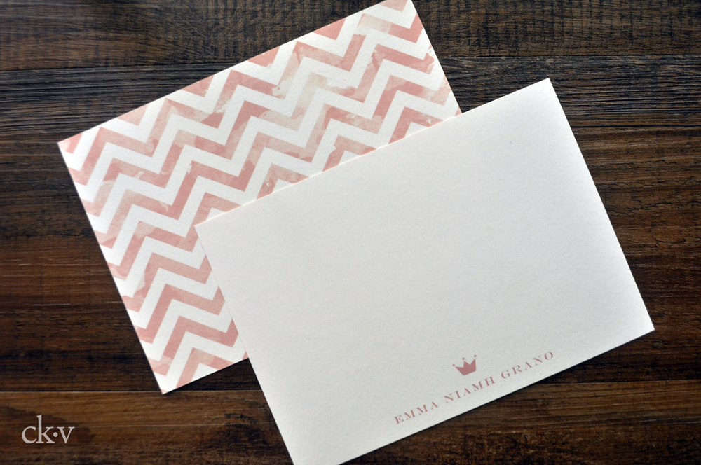 princess notecards in pale pink with crown, waercolor chevron