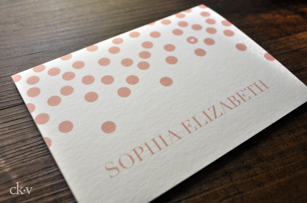 polka dot folded pink note card with heart and baby girl's name