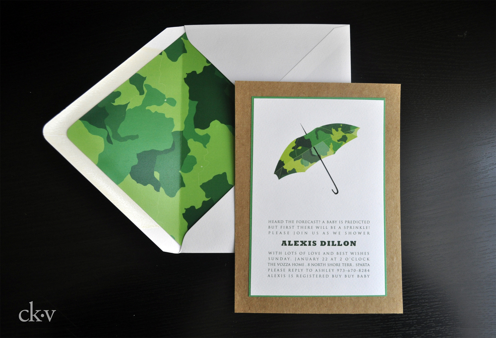 camouflage baby boy's shower invitaiton in bright green with umbrella