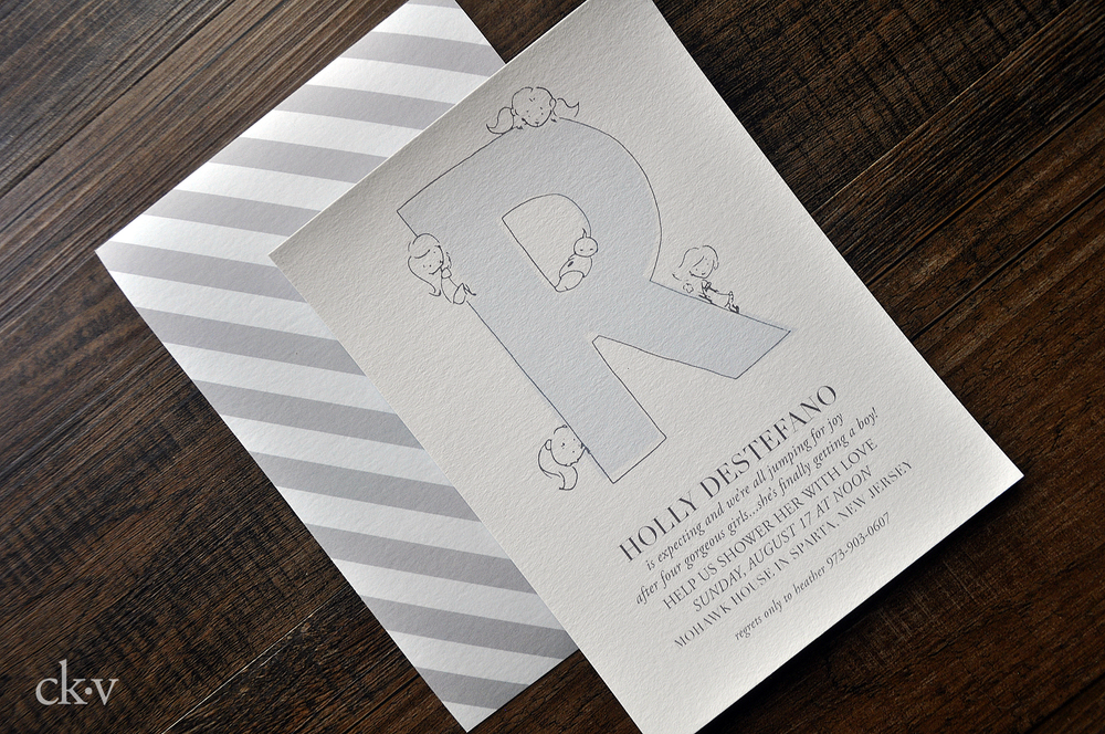doodle baby boy shower invitation with stripes and letter R in baby blue and grey