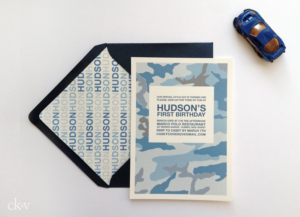 Boy's blue camouflage birthday party invitation with matching envelope liner
