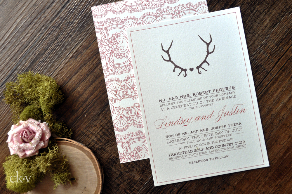 Rustic lace and deer antler wedding invitations with coral and choclate brown ink and kraft envelope
