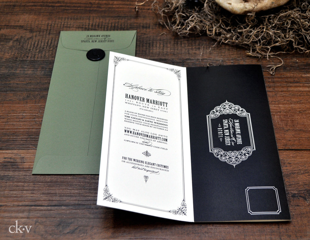 Gothic Halloween wedding invitations with wax seal and sage green by Catherine Kiff-Vozza, Couture Stationer
