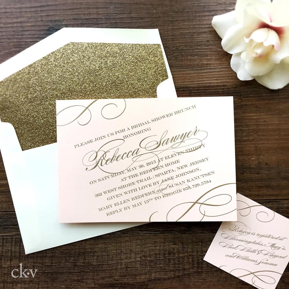 elegant blush pale pink and glitter gold bridal shower invitation