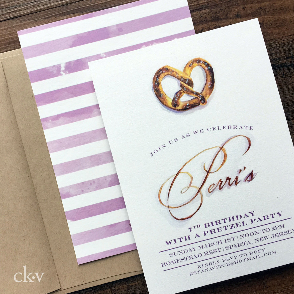 custom handpainted watercolor pretzel party invitations in purple with glitter salt accent