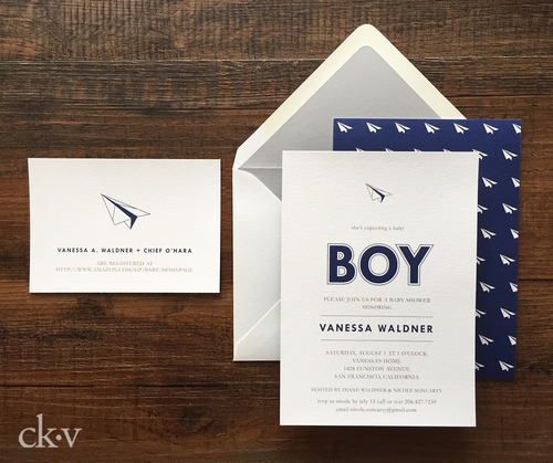 modern paper airplane baby biy shower invitation in navy by Catherine Kiff-Vozza, Couture Stationer