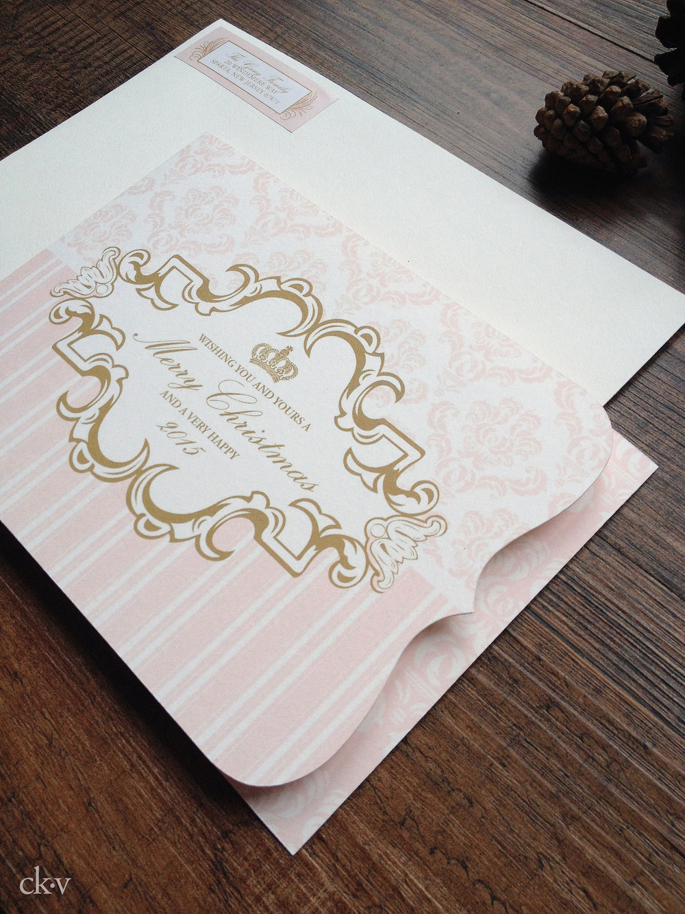 pink and gold ornate French custom holiday photo card